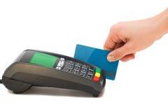 Credit card terminal. Paying with credit card terminal Royalty Free Stock Image
