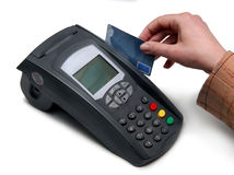 Credit card terminal (POS-terminal) for payment. Isolated over white background Stock Image