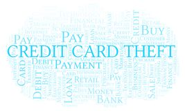 Credit Card Theft word cloud. Wordcloud made with text only vector illustration