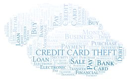 Credit Card Theft word cloud. Wordcloud made with text only stock illustration
