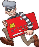 Credit card thief. Cartoon credit card thief. Vector clip art illustration with simple gradients. All in a single layer Stock Image
