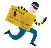 Credit card thief. A thief with a credit card illustration Vector Illustration
