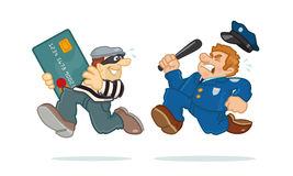Credit Card Thief. A police man is chasing a thief carrying a stolen credit card. Vector Illustration Stock Images