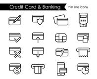 Credit card thin line icon set Stock Photos