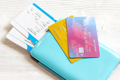 Credit card, tickets on wooden background travel concept Royalty Free Stock Images