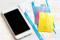 Credit card, tickets on wooden background travel concept Stock Image