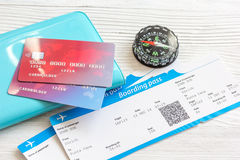 Credit card, tickets on wooden background travel concept Royalty Free Stock Photography