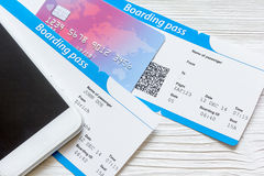 Credit card, tickets on wooden background travel concept Stock Images