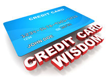 Credit card tips. Credit card wisdom text with a blue credit card, on white background, concept of credit card tips, tricks and best practices Stock Photos