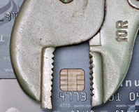 Credit card with tool, credit repair or credit fix concept Stock Photography