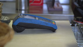 Credit card transaction at store. Scene of a credit card transaction at store stock video footage