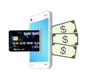 Credit card transform by smartphone to money note bank Royalty Free Stock Image