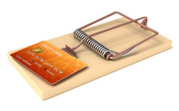 Credit card trap. Credit Card in Mousetrap. High quality 3d render Royalty Free Stock Photo