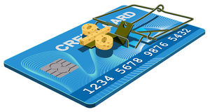 Credit card trap. Bank interest free cheese in mousetrap Royalty Free Stock Images