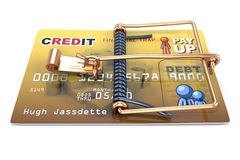 Credit Card Trap, Predatory Lending. Concept. A credit card with a mouse trap built onto it to illustrate dangers of credit Royalty Free Stock Photography