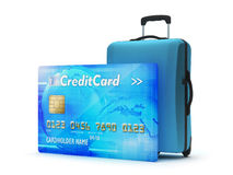 Credit card and travel bag Royalty Free Stock Image