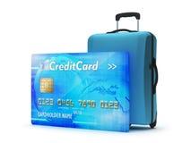 Credit card and travel bag vector illustration