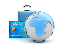 Credit card and travel bag Royalty Free Stock Images