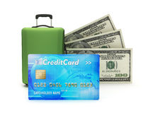 Credit card, travel bag and dollar bills. On white background Royalty Free Stock Photography