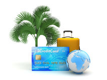 Credit card, travel bag, earth globe and palm tree Stock Photography