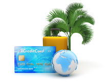 Credit card, travel bag, earth globe and palm tree Royalty Free Stock Photos