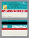 Credit card in turquoise and red with bursting world map. Credit card template in turquoise and red with bursting world map Royalty Free Stock Photos