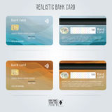 Credit card. Two sides. Colored wave backgrounds. Template vector Royalty Free Stock Photography