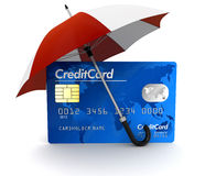 Credit Card under Umbrella (clipping path included) Stock Image