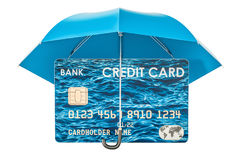 Credit card under umbrella, security payment concept. 3D renderi. Credit card under umbrella, security payment concept. 3D Royalty Free Stock Photo