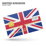 Credit card with United Kingdom flag background Royalty Free Stock Photography