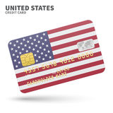 Credit card with United States flag background for bank, presentations and business.  on white Stock Image