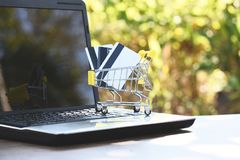 Credit card and using laptop easy payment shopping online concept stock images