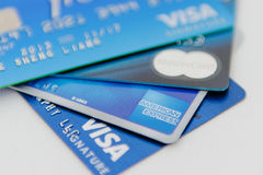 Credit card. Visa, Mastercard, American Express credit cards stock photo