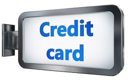 Credit card on billboard background. Credit card wall light box billboard background , isolated on white Stock Photos
