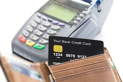 Credit Card in Wallet with Credit Card Machine Stock Photos