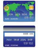 Credit Card on Wave Lines and World Map Background Stock Image