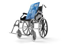 Credit card with wheelchair. Isolated on white background. 3d illustration Stock Images