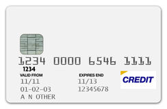 Credit Card White. Blank Credit Card on white background Royalty Free Stock Photos