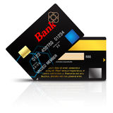 Credit card  on white background. Black Credit card with golden electronic chip.  on white background. vector illustration Royalty Free Stock Image