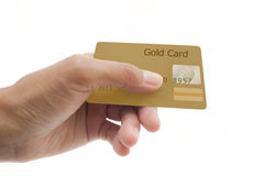 Credit card on white background. Hand showing credit card  isolated on white background Stock Photos