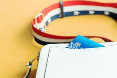 Credit card in white shoulder bag, ready shopping concept Royalty Free Stock Image
