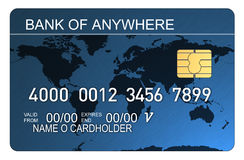 Credit Card With World Map Blu Royalty Free Stock Image