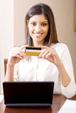 Credit card woman Stock Images