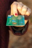 Credit Card in woman hand Stock Photo