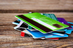 Credit card. On wooden background Royalty Free Stock Photos