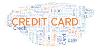 Credit Card word cloud. Wordcloud made with text only royalty free illustration
