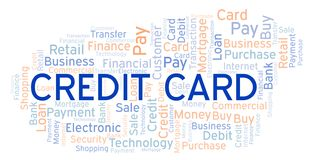 Credit Card word cloud. Wordcloud made with text only vector illustration