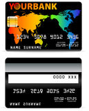 Credit Card on Word Map Backgr stock illustration