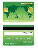 Credit Card on Word Map and Gr Stock Photography
