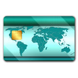Credit card with world map. Credit card with worl map on it and microchip Stock Image